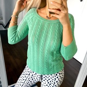🌿 AE BRIGHT GREEN KNIT SUMMER SWEATER!